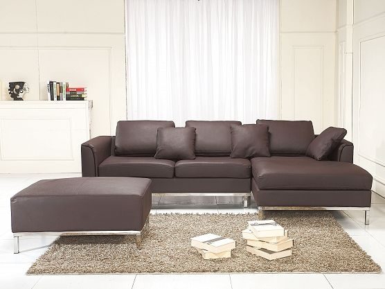 modern sectional sofa in leather with ottoman oslo brown l