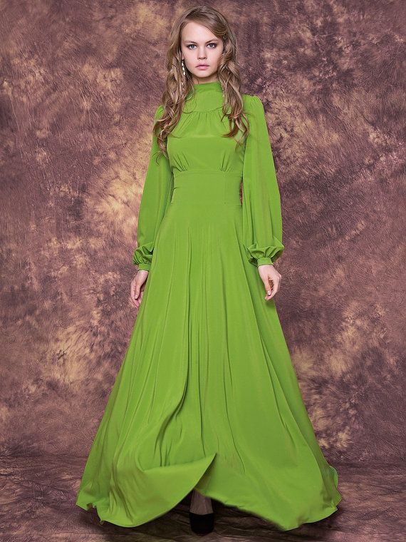 Elegant light green maxi dress with full lenght sleeves/ Long light green bridesmaid dress/ Light green formal dress/ Light green dress