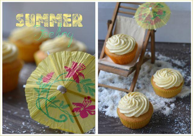 Ramona's Bäckerei: Kokos-Cupcakes mit Mango-Quark-Frosting und Kokosc...