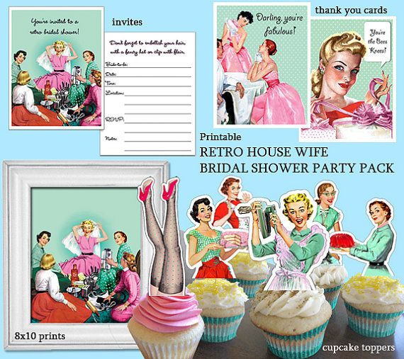 This is a download and printable kit. Print as many as you need! *NOT COMPLETED INVITES & TOPPERS*  These are illustrations from 1940-1950 magazine ads that Ive edited to create a super fun collection for a retro theme bridal shower! Main colors are aqua, red and pink!  Kit includes:  - bridal shower invites - 6 different double sided cupcake toppers. - thank you cards for bridesmaids and for gifts with optional sayings - simple 2 fold thank you card - 8x10 prints/poster to be framed for…