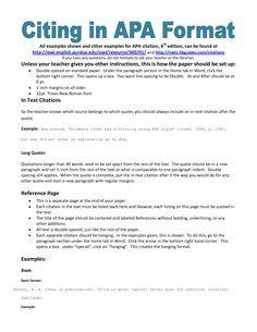 example of apa citation in paper | APA citation handout
