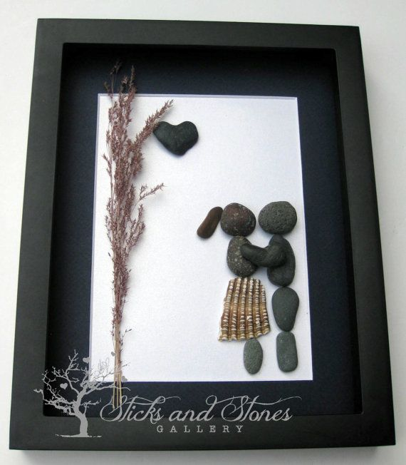 Pebble Art Couple's Gift Couple's Home Decor by SticksnStone