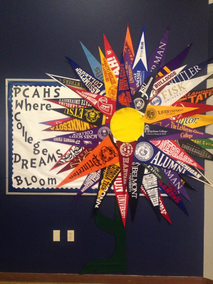 College Pennant Flower Bulletin Board #powercenteracademy #highschoolcounselors