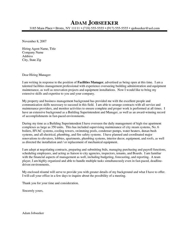 Cover Letter For Supervisor Position Facilities Manager Cover Letter   Facility  Manager Cover Letter