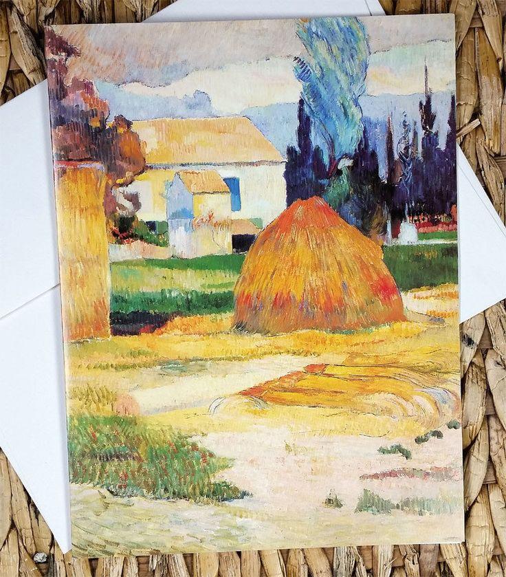 "VTG PAUL GAUGUIN ""Landscape Near Aries"" ART PRINT CARD Painting Artwork"