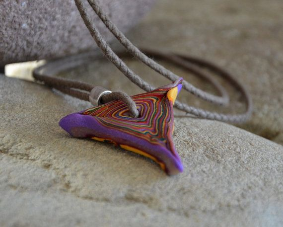 FREE SHIPPING Mens Cord Necklace Polymer Clay Pendant Mens