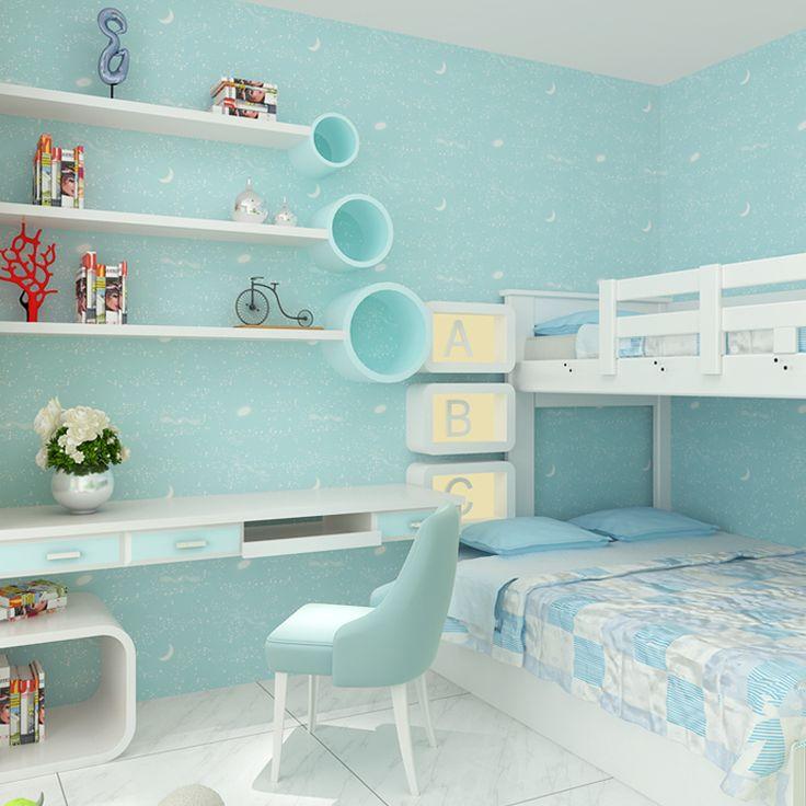 Blue Wallpaper Child Boy Kids Bedroom Moon Luminous Wall Paper Cartoon Purple Home Decor papel de parede infantil 3D Wall Mural