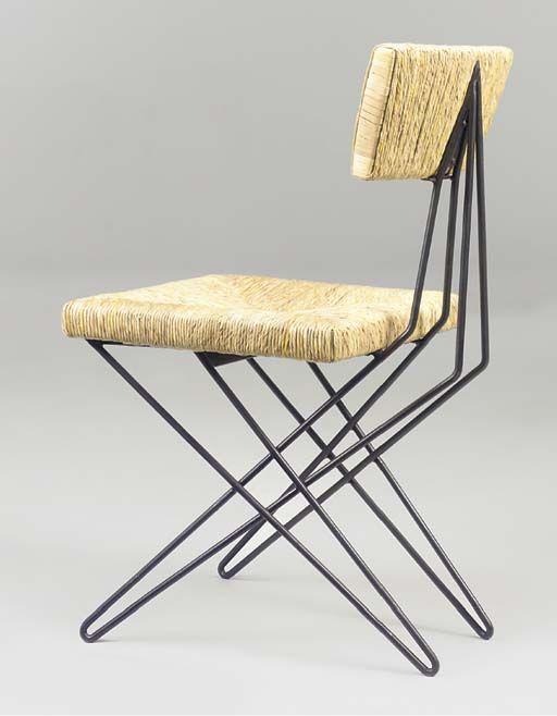 Gerrit Rietveld; Enameled Metal, Wood and Rush Prototype Chair for the Van Daalen Home, c1955.