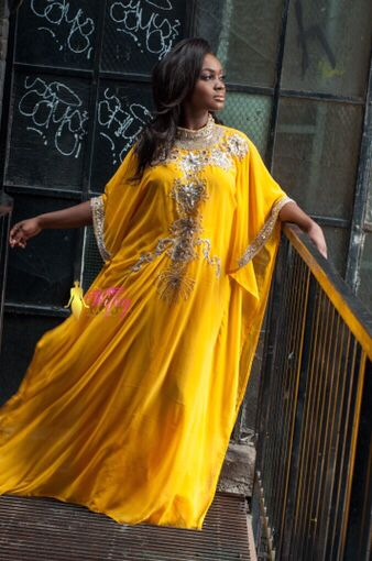 Elegant yellow bling embroidered kaftan. Regal, Modesty! www.thewifeycollection.ws