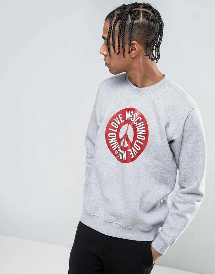 Get this Love Moschino's hooded sweatshirt now! Click for more details. Worldwide shipping. Love Moschino Peace Logo Sweater - Grey: Sweatshirt by Love Moschino, Soft-touch sweat, Crew neck, Love Moschino logo design, Fitted trims, Relaxed fit, Machine wash, 64% Cotton, 36% Polyester, Our model wears a size Medium and is 188cm/6'2 tall. Franco Moschino grew up in a small town outside of Milan, counteracting his provincial boredom with drawing. Encouraged to take up design by Gianni Versace…