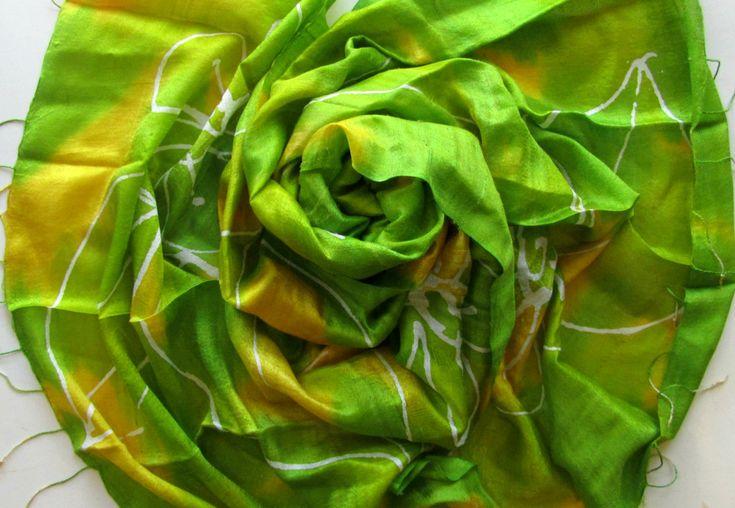 Raw silk shawl-Handwoven silk shawl-Hand dyed batik silk shawl-Thai silk-Natural silk-Handmade silk shawl-Batik silk-65x160cm-Organic silk by PlanetEarthHandmade on Etsy