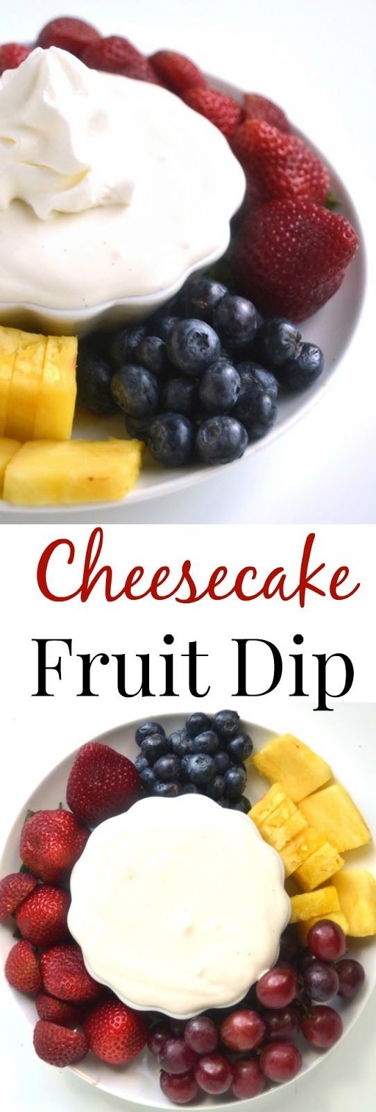Cheesecake Fruit Dip has just 5 ingredients, takes 5 minutes to make and is super creamy while being a light and healthy dip for your favorite fruits! www.nutritionistreviews.com #LetsCheese #ad