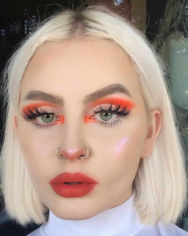 """Change the lip color and lose the orange shadow, plus the weird orange highlighter (?) """"v"""" shape on her nose...other than that, beautiful! Lol   ♡ ♡Pinterest: @EnchantedInPink♡ ♡"""