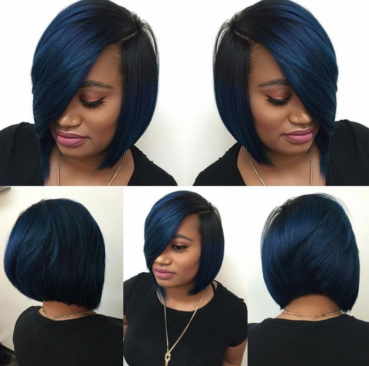 Dope blue bob via @hairbylatise - Black Hair Information