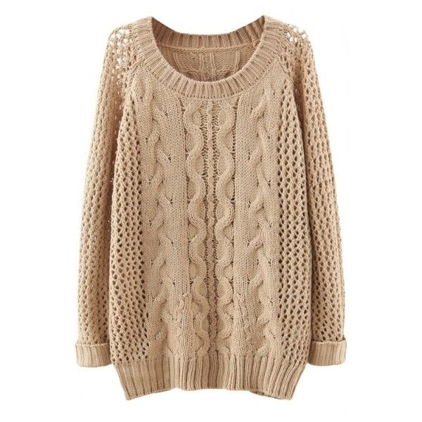 Plain Raglan Sleeve Cable Open Knit Sweater ($27) ❤ liked on Polyvore featuring tops, sweaters, shirts, bhalo, raglan sleeve shirts, beige shirt, raglan sleeve sweater, open-stitch sweater and open-knit sweater
