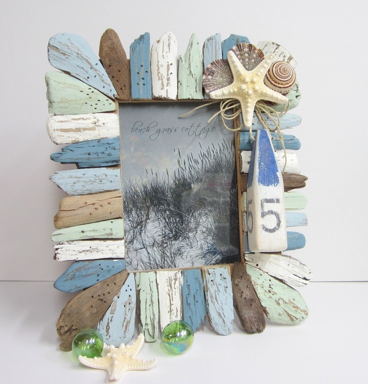 beach decor driftwood seashell frame