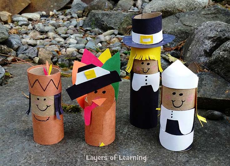 Photo Thanksgiving Craft Pilgrim Indian Toilet Paper Roll