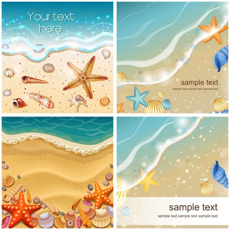 Beach drawings | Set of 4 vector beach backgrounds with some shells, sea and sand for ...