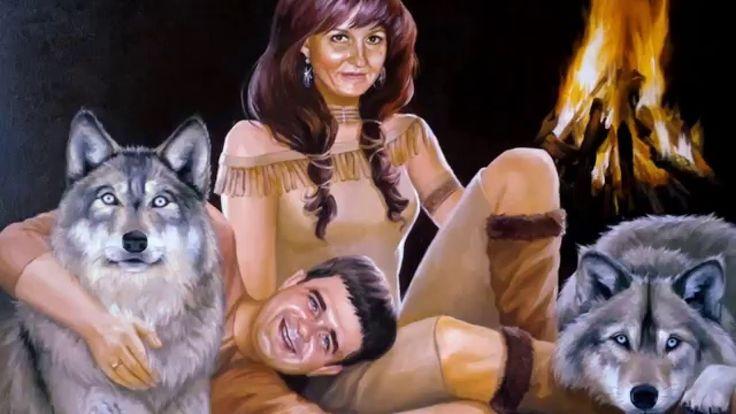 Парный портрет маслом с волками