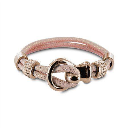 New Bling - Armband zacht roze leer met beads lus sluiting Rose - Sazou