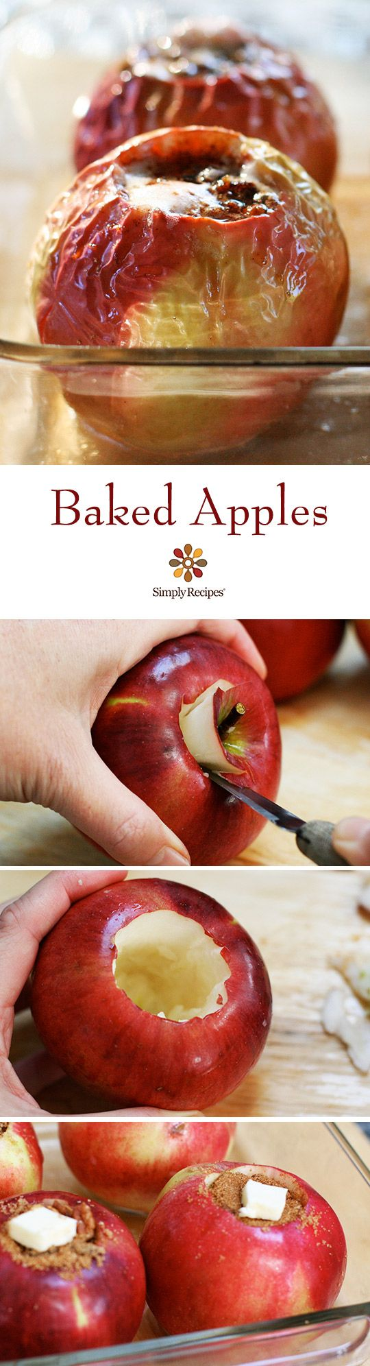 Classic baked apples filled with pecans, cinnamon, raisins, butter, and brown sugar. ~ SimplyRecipes.com