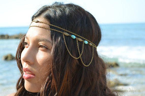 Chain Headpiece Boho Head Jewelry Bohemian Headband Headdress Gypsy Jewelry Chic Bohemian  Hair Jewelry Serena Double Strand