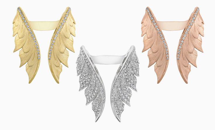 Кольца из желтого, белого и розового золота с бриллиантами