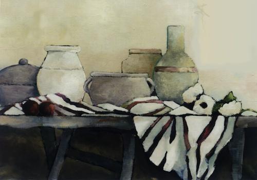 """""""Nature morte en blanc""""-Bénédicte Garnier-Fihey-Oil on canvas"""