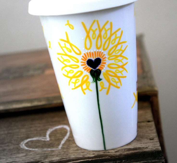 Yellow Ribbon Dandelion Travel Mug : Support Our Troops - Yellow Ribbon Military Birds. $24.00, via Etsy.