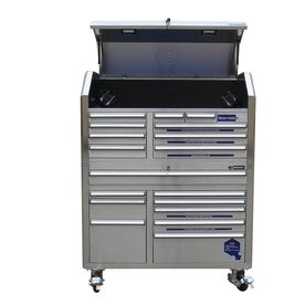 Stainless Steel Tool Chest at Lowes.  I saw one of these today and thought about using it in the kitchen? Matches my stainless steel apps, and would be great storage for pots, pans, cookie sheets, utensils, etc. Different drawer configurations available.