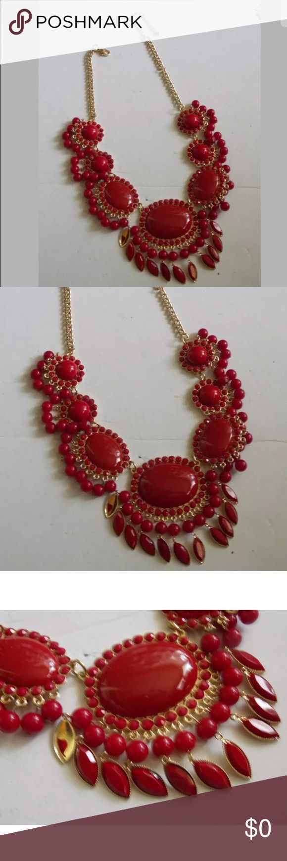 "Red Rhinestone Necklace Pretty Red rhinestone fashion necklace is apx 20"" long with gold toned metal and lobster claw clasp.  Length is adjustable. Others similar to this one available for sale in my closet.  Bundle and save💚. Open to offers alsi💚 Jewelry Necklaces"