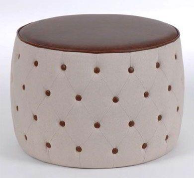 Pouf capitonné écru et marron http://www.abcd-aire.com/Canapes_fauteuils.htm