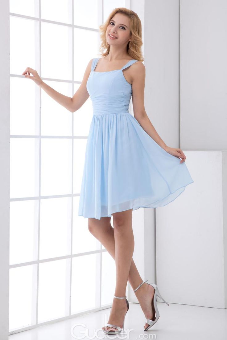 Light Blue Chiffon Short A-line Bridesmaid Dress with Wide Straps ...