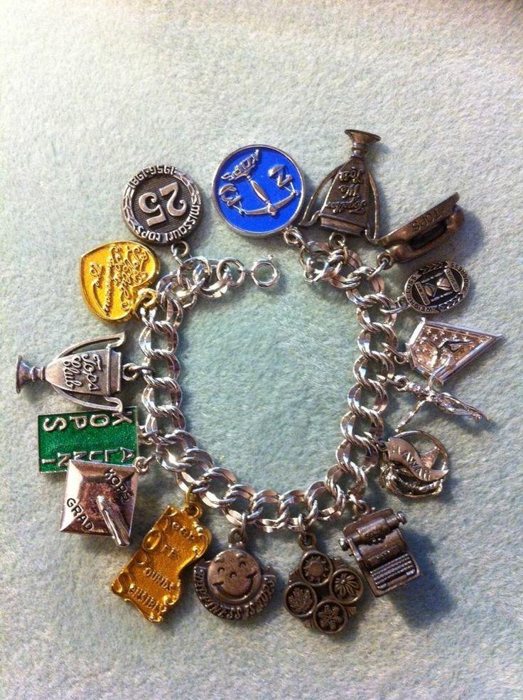 Vintage Tops Kops Charm Bracelet Missouri and Multiple New Charms - 36 total