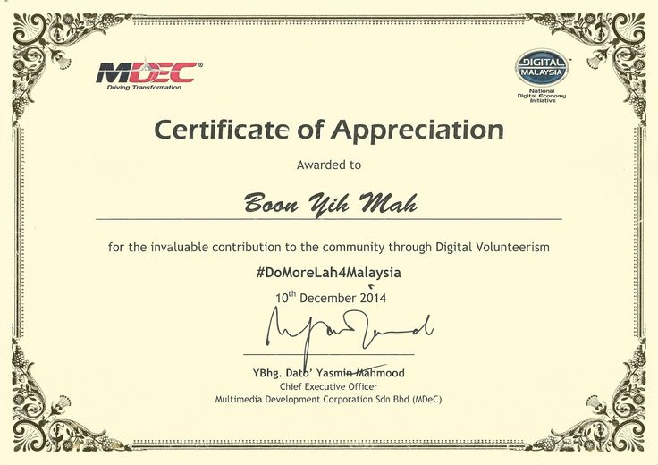 DoMoreLah4Malaysia Certificate of Appreciation WeCWI Board - certificate of appreciation examples