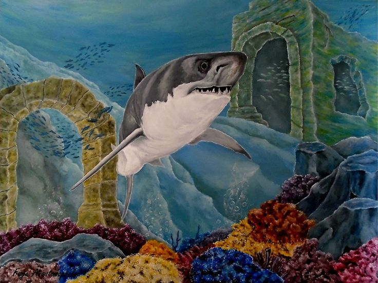 shark,painting,underwater,world,scene,wildlife,fish,seascape,arches,ruins,temples,sunk,ancient,town,saltwater,ocean,sea,deep,bottom,floor,nature,jaws,corals,reefs,bubbles,vivid,colorful,aqua,blue,turquoise,great,white,predator,hunter,water,mystery,submerged,marine,animal,beautiful,awesome,cool,superb,amazing,fabulous,magnificent,contemporary,realistic,figurative,in,of,under,the,fine,oil,wall,art,images,home,office,decor,artwork,modern,items,ideas,for sale,redbubble