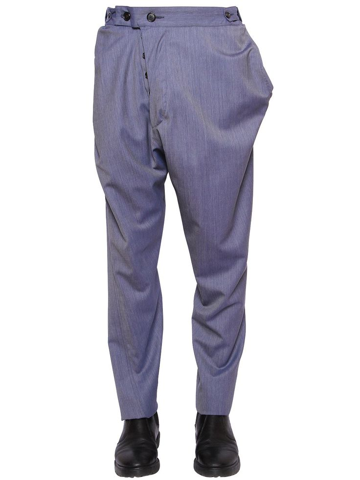 VIVIENNE WESTWOOD ASYMMETRIC COOL WOOL PANTS AVIATOR BLUE MEN CLOTHING