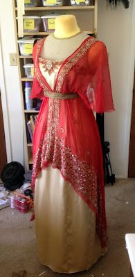Titanic Era Gown. Silk charmeuse and vintage silk dupatta with goldwork and beading. The Laced Angel: Titanic Gown