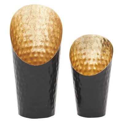 Benzara Hammered Metal Contemporary Candle Holder - Set of 2 - 47590