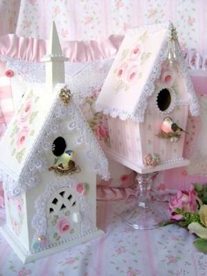 Shabby Chic Birdhouses... bought a tiny bird house for her room... Maybe fix it up cute like these.