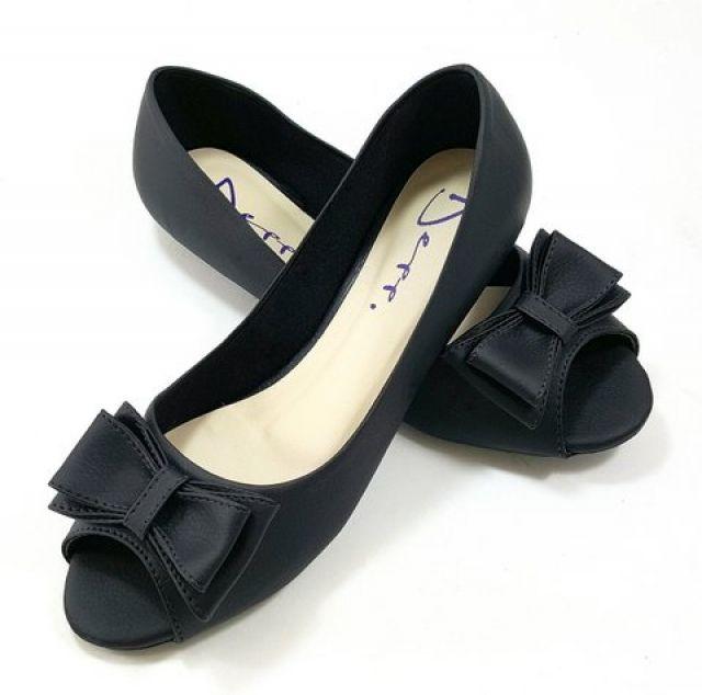 Sapatilha Peep Toe Feminino Com Laço Preto - Ref: 6053113