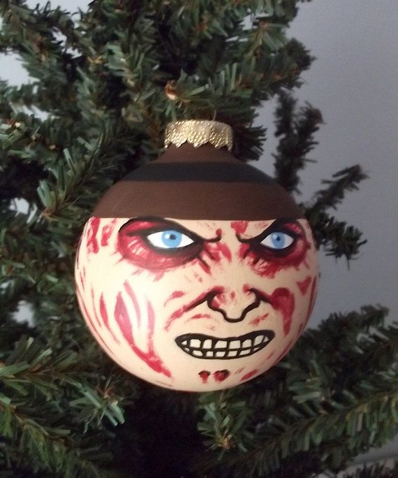 Freddy Krueger Hand Painted Holiday Ornament Set By