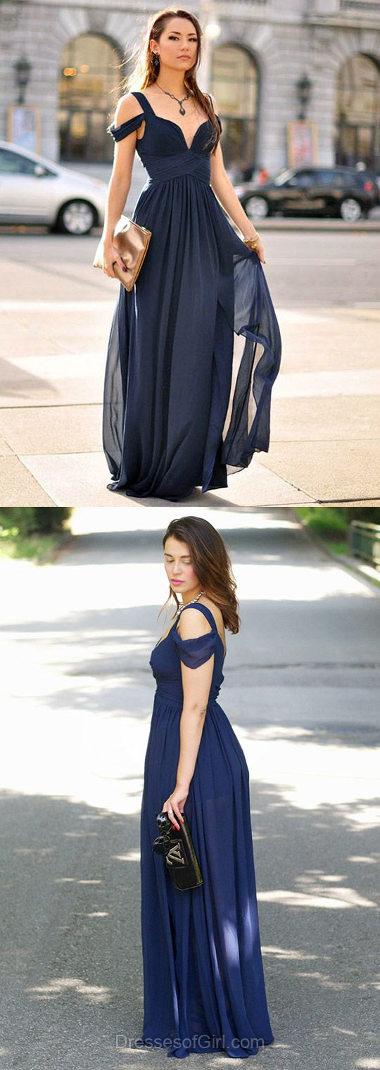 Empire V-neck Chiffon Floor-length Ruffles Affordable Prom Dresses