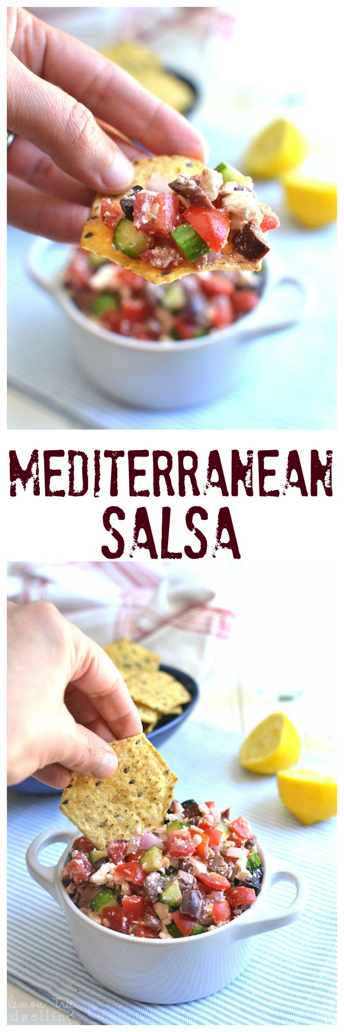 Mediterranean Salsa - all the flavors of Greek Salad, in a delicious dip that's perfect with tortilla chips! @fstgchips #sponsored