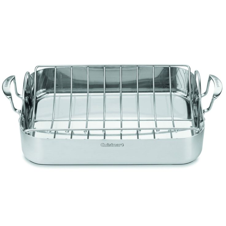 Simple Cuisinart MultiClad Pro Stainless inch Rectangular Roaster with Rack Silver Metal
