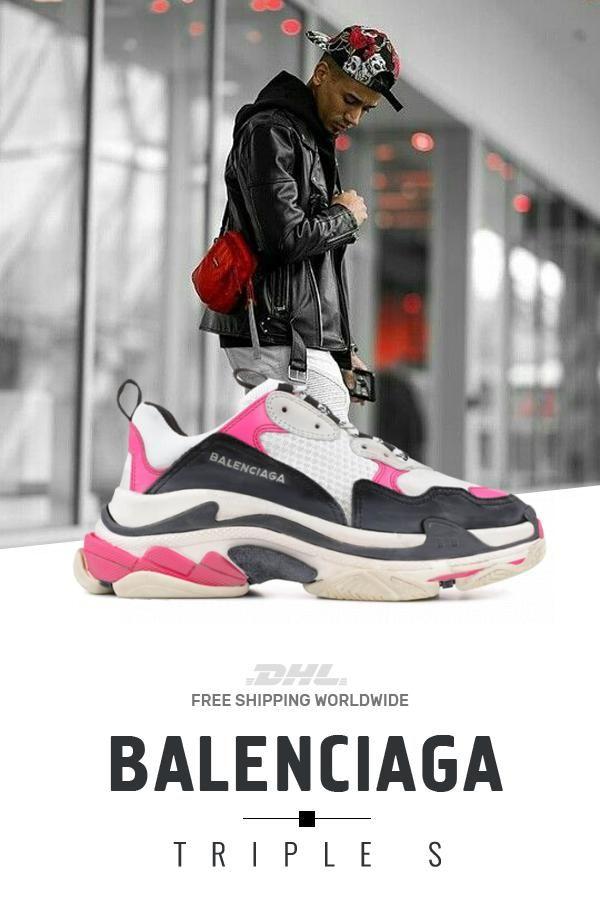 For sale Balenciaga Triple S Trainers PINK   Black shoes  sneakers  fashion   shoes e4b7e270a