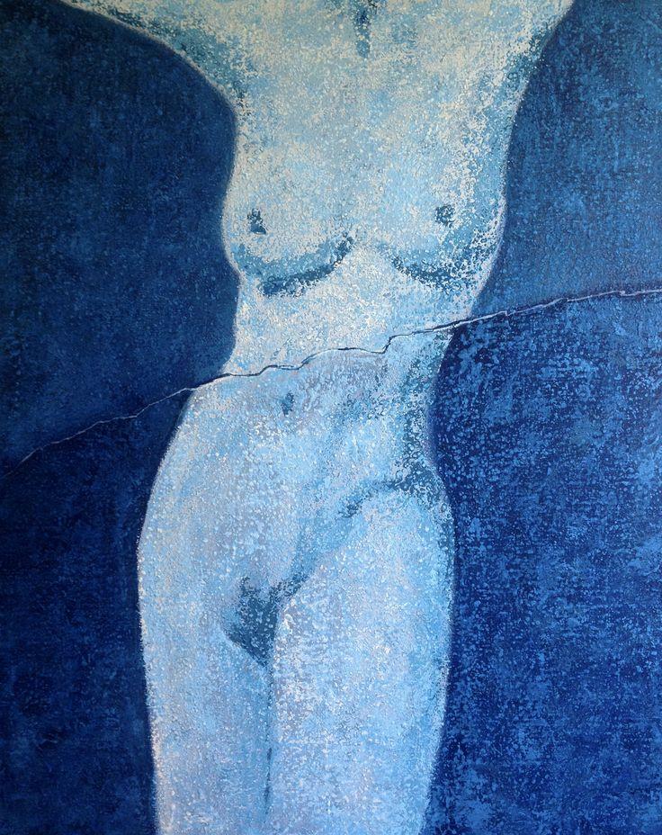 HAVING THE CHOICE Having the choice made us tear.   #nude #acrylic #contemporaryart #blue #tear #polishart #painting #canvas #modern #tachisme #woman #