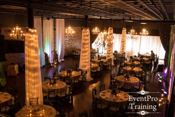 draping columns and draping from ceiling midnights summer dream prom theme Event Pro Training