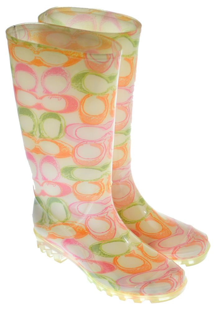 COACH Rain Boots 7 PIXY Dream Tall Rubber Duck Pink Orange Green Womens  #Coach #Rainboots #rainduckboots