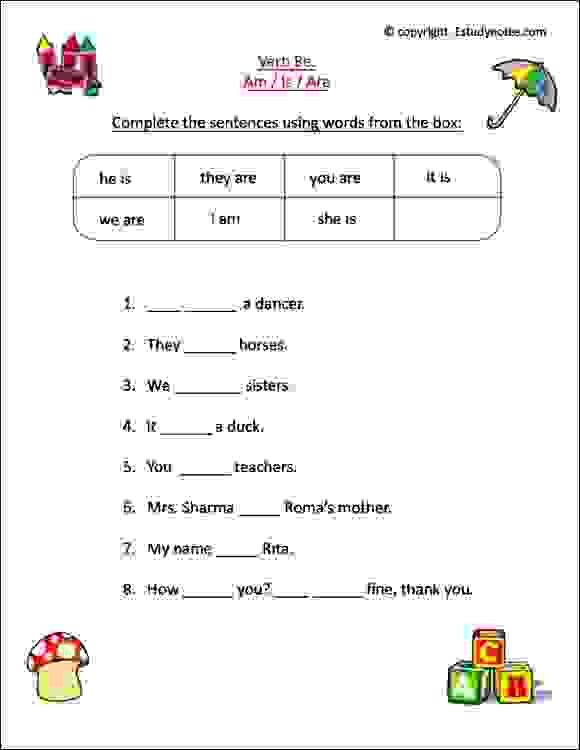 English Worksheets For Class 1 Kids To Practice Verbs Is